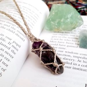 ☽ Natural Dark Amethyst Wrapped Pendant Necklace ☾